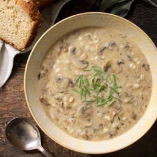 Cream of Mushroom & Barley Soup Recipe