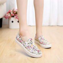 Fleur imprimer femmes plat chaussures 2016 plate-forme d'été mocassins confortable dames glissent sur appartements occasionnels toile chaussures KM1461(China (Mainland))