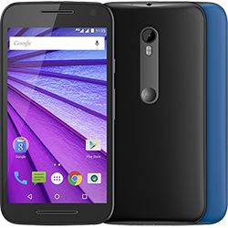 foto: Smartphone Motorola Moto G (3ª Geração) Colors Dual Chip Android 5.1 Tela 5 16GB 4G Câmera 13MP - Preto + 1 Capa Azul