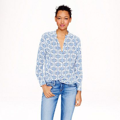 J.Crew - Silk cat-print blouse