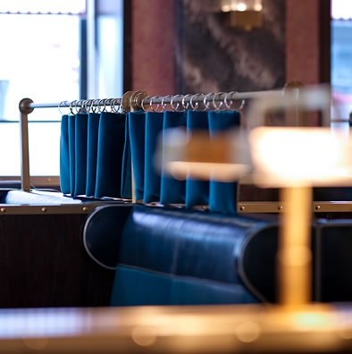 "Bob Bob Ricard restaurant in London.  Each table has a button that says ""push for champagne"".  FUN"