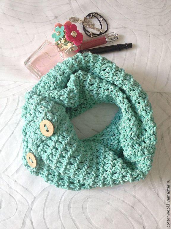 Купить Летний снуд мятного цвета из хлопка с шелком - мятный, абстрактный, снуд, мятный шарф