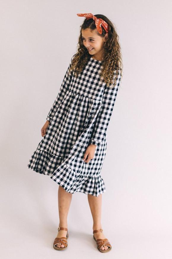 3e4fa83d05d2 Black and White Plaid Midi Dress for girls
