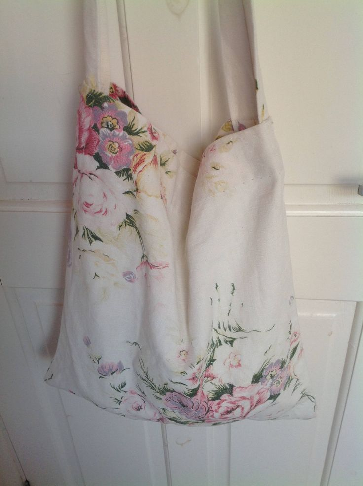 Cross body bag hand made from beautiful vintage linen large faded roses shopping bag vegan cabbage roses faded shabby chic  folksy chintz by ReworkedHomewares on Etsy