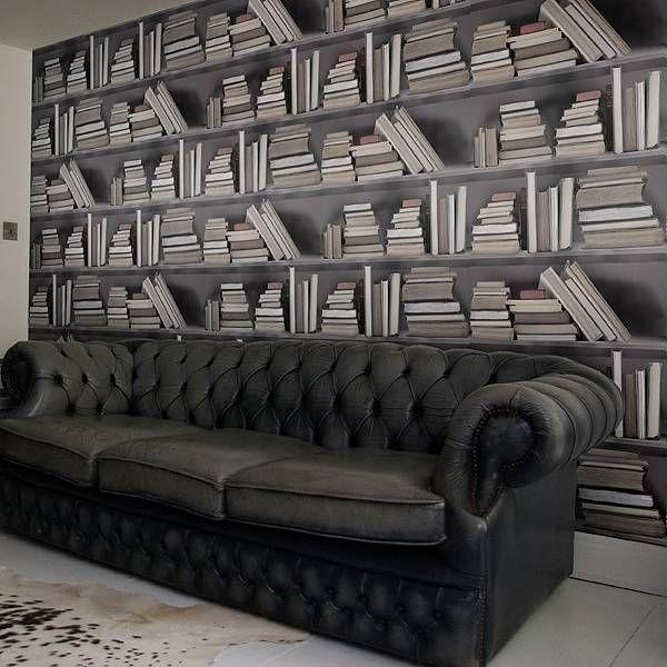 Jolly nice bookshelf wallpaper by bodie and fou   notonthehighstreet.com