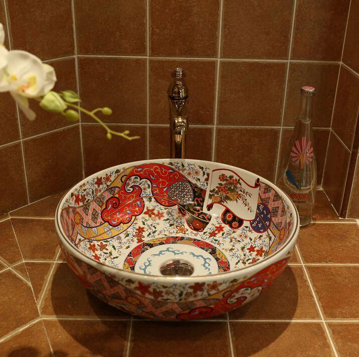 Ретро Керамическая Искусство Бассейна Счетчик Бассейна умывальник(China (Mainland))