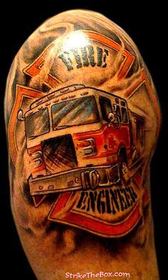 Firefighter Maltese Cross & Fire Engine Tattoo (shoulder)   Shared by LION