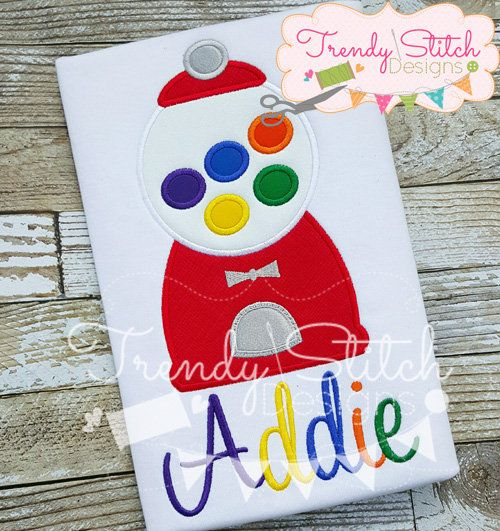 Gumball Machine Applique Shirt - Personalized Embroidery - Candyland Birthday Party by RockintheTutu on Etsy