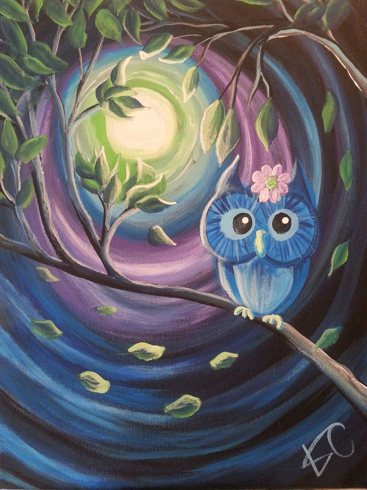 """Night Owl"", canvas painting class by Kim Cesaretti, instructor sample"