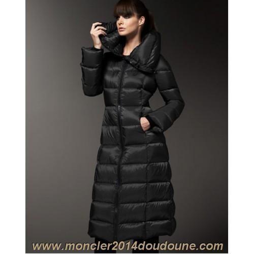 Moncler Doudoune Femme Longue Noir-b