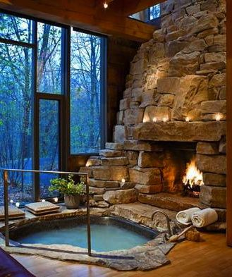 Hot Tub & Fire Place ... Wouldn't you love to enjoy this on a cold winder's night? <3