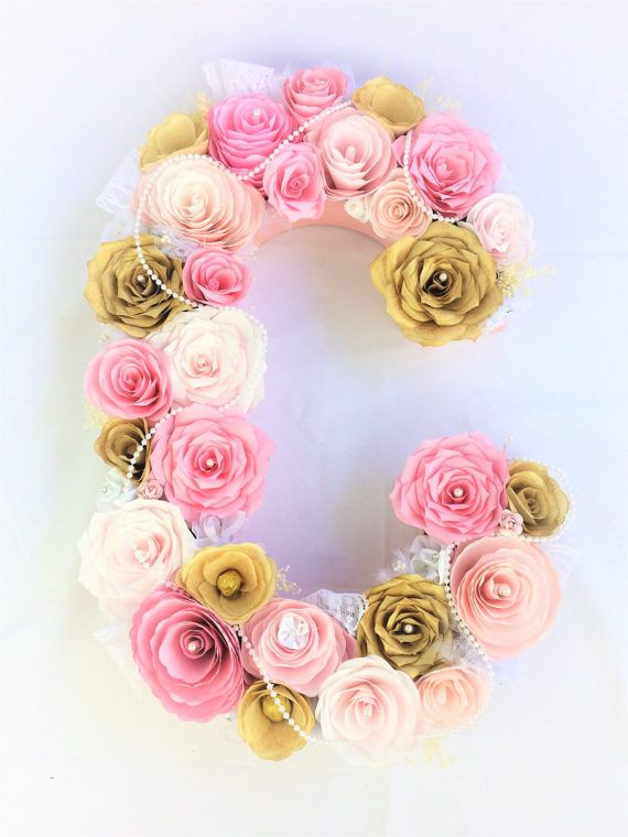 Pink and gold paper flower letter with pearls and by CENTERTWINE
