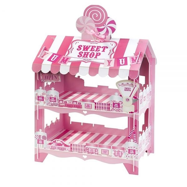 Roze Sweet Shop kraam, Pink Sweet Shop stall, a lovely eyecatcher for a babyshower, Valentine sweet table or party. Shop at: http://sweetfoodstyling.com