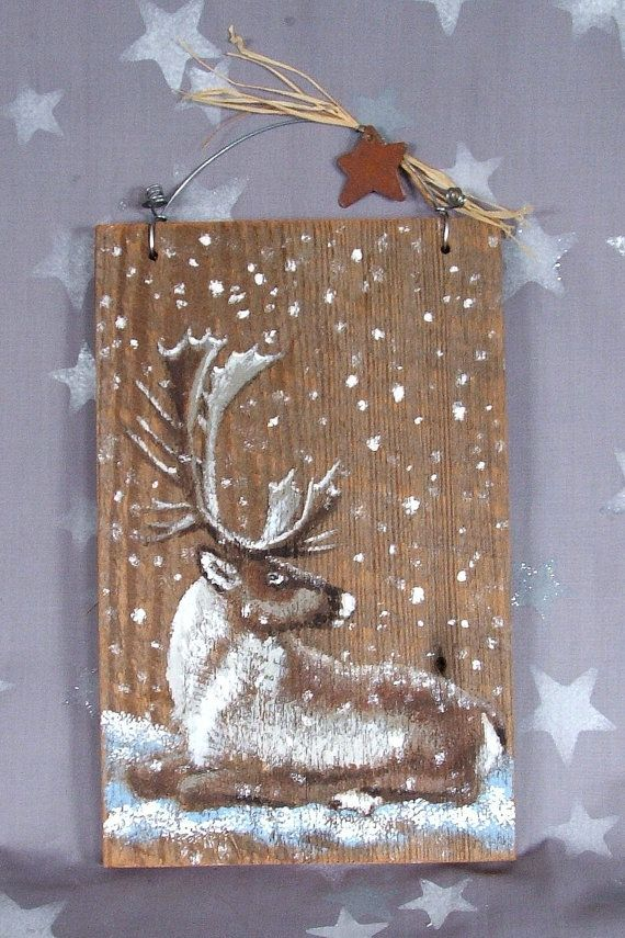 """Resting in Snow, authentic barnwood, hand painted, 5 3/4"""" x 9"""""""