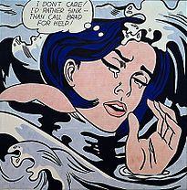 Roy Lichtenstein's Drowning Girl (1963) on display at the Museum of Modern Art, New York