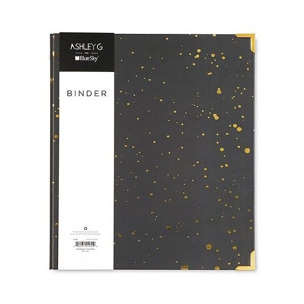 Ashley G  Binder Paper Board ($6.99) ❤ liked on Polyvore featuring home, home decor, office accessories, black, black binder and file binder