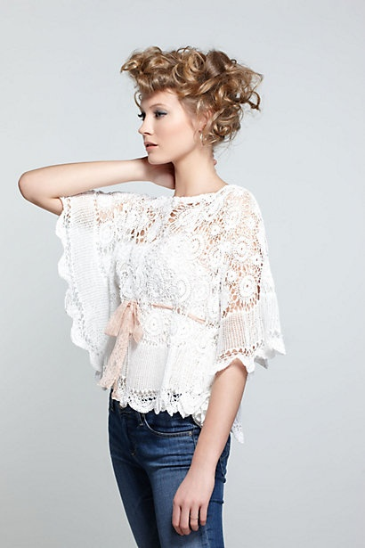 Crocheted Batwing Blouse #anthropologie
