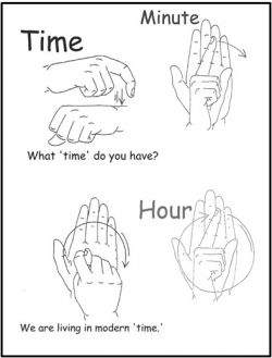 Time Related Words. The signs for 'time', 'minute' and 'hour' are the same in SASL (although there are other variations)