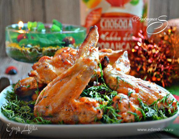 Куриные крылья в оригинальном маринаде. Ингредиенты: майонез «Слобода» Провансаль , куриные крылья, кетчуп томатный