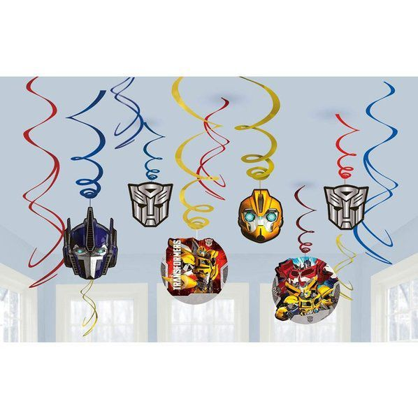Check out Transformers Foil Swirl Hanging Decorations - Cheap Individual Decorations from Wholesale Party Supplies