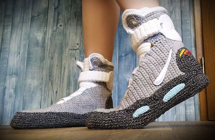 Handmade Crochet Knitted Home Men's Women's Custom Slippers, BTTF Mag Shoes, Cosplay Shoes, Cosplay Boots Back To The Future Shoes Air Mag Style, Woman's And Men's Indoor Knitted Slippers