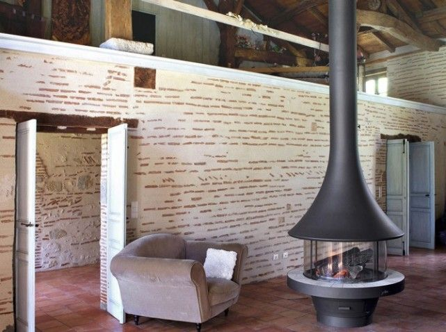 17 Best images about po u00eale a bois on Pinterest Modern wood burning stoves, Foyers and Belle # Cheminee Feu De Bois Moderne