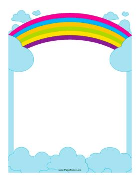 This border includes a rainbow reaching across the sky. Free to download and print./ there are more rainbow papers