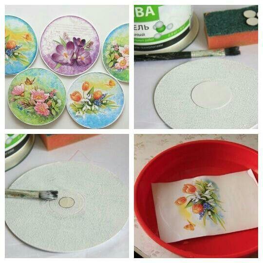 """""""Идея для ненужных дисков""""  Материалы:   CD диски (лучше те, у которых одна сторона совсем гладкая)  открытки (салфетки, распечатки)  краска белая акриловая  клей ПВА  лак акриловый  картон  акриловые краски цветные  наждачная бумага- ножницы  Инструкция:  1. Диск шкурим с обеих сторон и грунтуем одним слоем белой краской с помощью губки. 2. Вырезаем из картона кружочки, чтобы замаскировать отверстие в диске.С той стороны, где неровности больше приклеиваем кружок побольше…"""