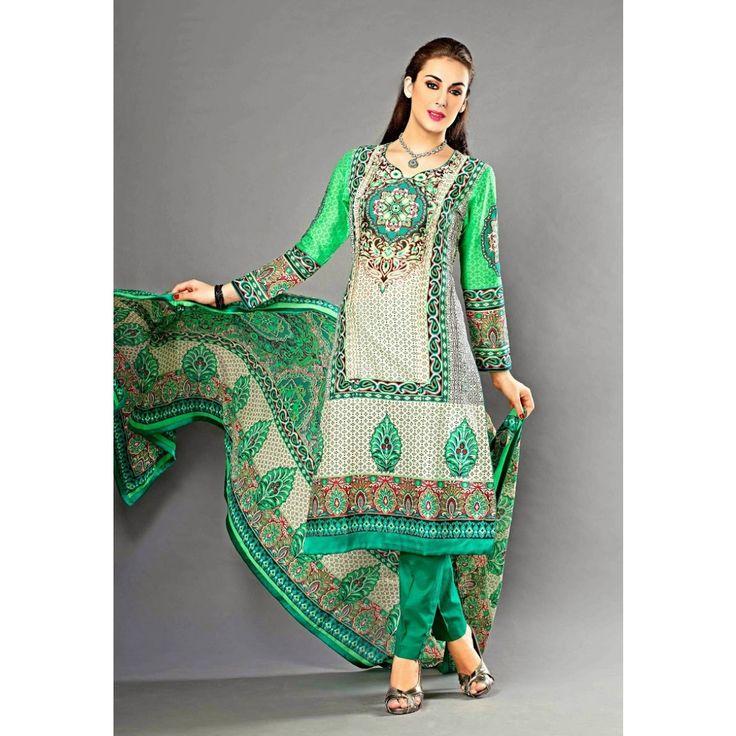 Green Cotton Wedding #ChuridarKameez With Dupatta