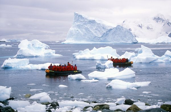 #Antarctica - Ecological tourists in Zodiac boats.