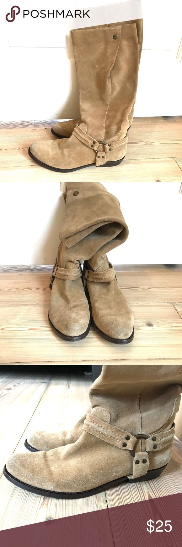 tan suede cowboy boots Franco Sarto Knee high tan suede cowboy boots.  Wide calf shaft with snap. Franco Sarto Shoes Ankle Boots & Booties