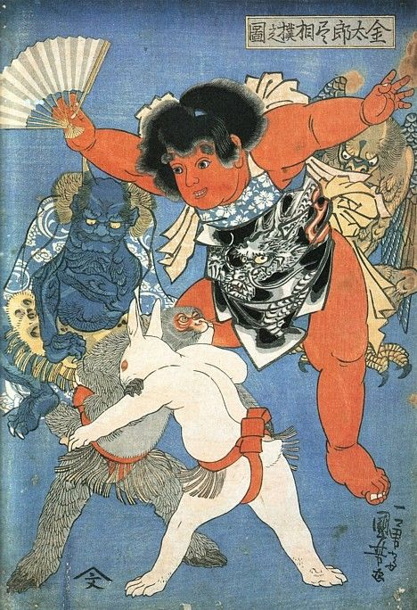 Kintaro Referees Sumo Bout Between Rabbit & Monkey (Kuniyoshi, ca. 1830)