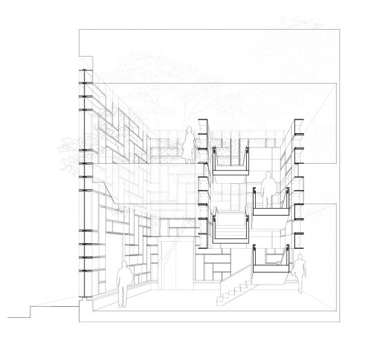 Coach omotesando flagship oma architecture diagrams for Architectural plan storage
