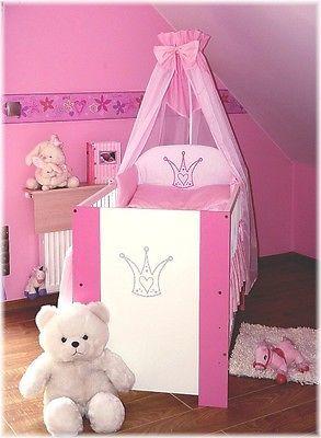 Prinzess Bett rosa Babybett Kinderbett 120x60 Baby Bett komplett mit Bettwäsche