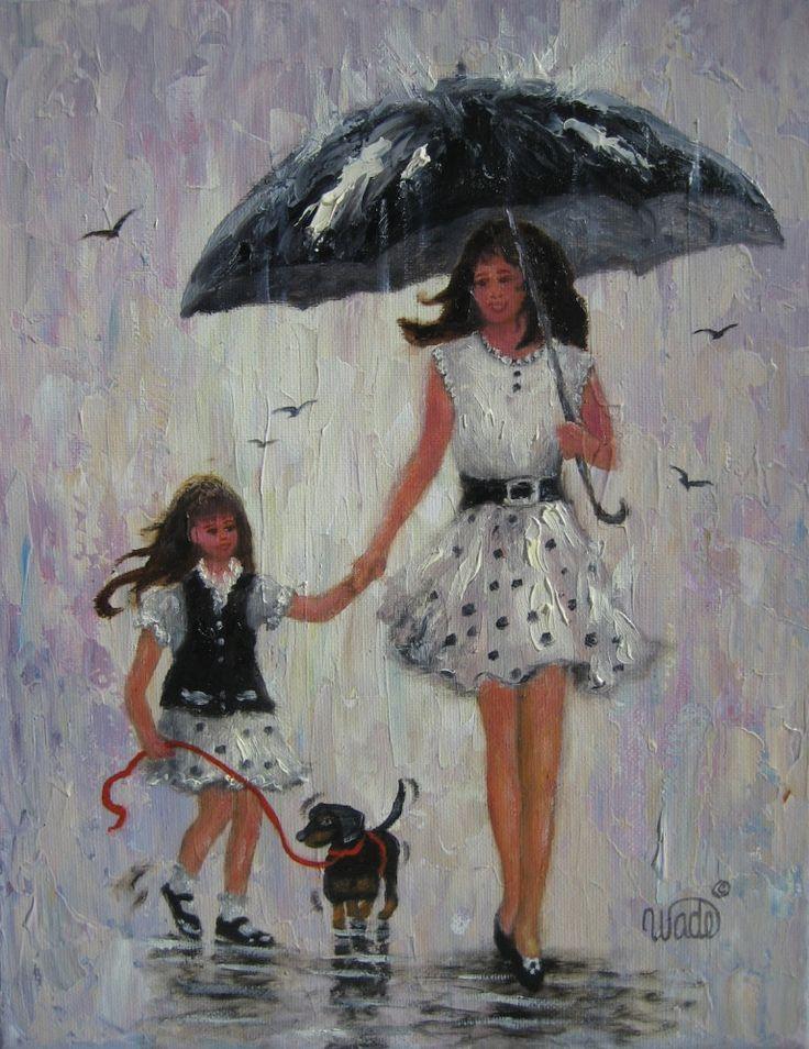 Rain girls art print mother and daughter paintings rain paintings umbrellas daughter little girl black white wall art vickie wade art