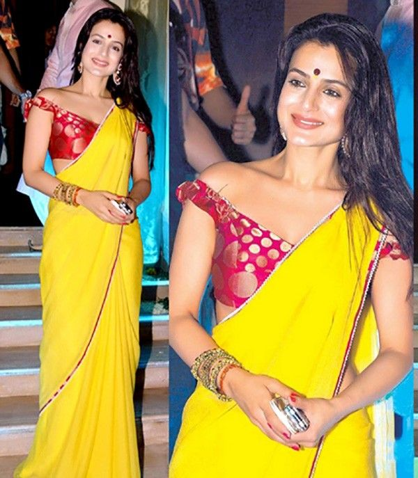 Ameesha+Patel+Georgette+Lace+Work+Yellow+Plain+Bollywood+Designer+Saree+-+5084 at Rs 2099