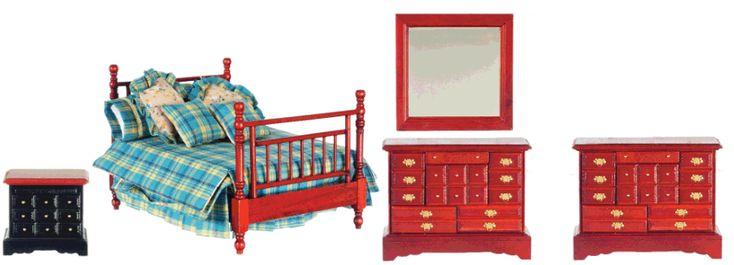 Double Bedroom Furniture Set 4pc Mahogany | Mary's Dollhouse Miniatures