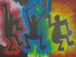 Keith Haring Inspired Figures  Oil pastel on black paper  Once upon an Art Room. Oil pastels were a requested material on the end of year art surveys.
