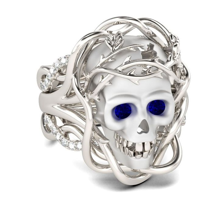 Shire Rhodium Plating Sterling Silver Skull Ring Http Gothicweddingrings
