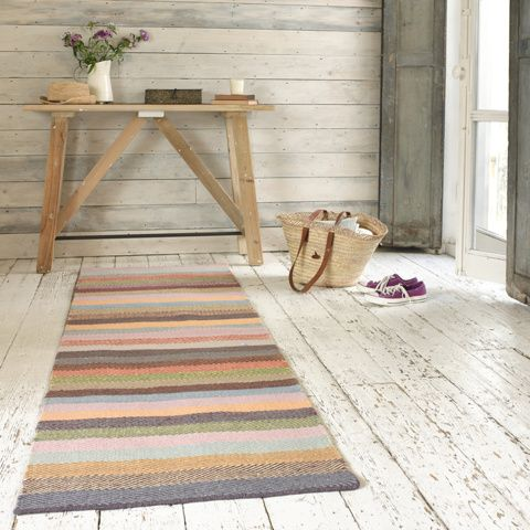 TUPPENCE RUNNER. There's only one thing better than a herringbone rug and that's a herringbone rug with a bit of colour. The runner version of this beauty is like a rainbow-y slice of heaven. #BonjourBlighty #runner #stripes #colours