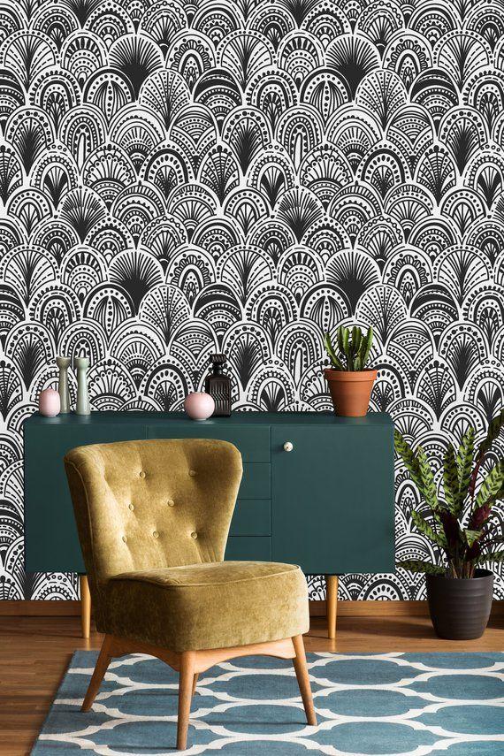 Black And White Bohemian Removable Wallpaper Peel And Stick Etsy Peel And Stick Wallpaper Removable Wallpaper Black And White Wallpaper