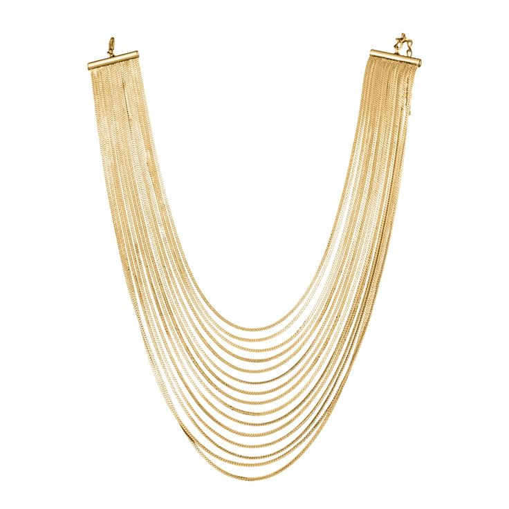 SNAKEBIB - gold snake chain bib necklace.