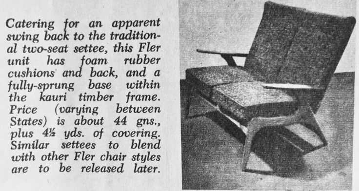 SC55 2 seater lounge by Fler. Australian Home Beautiful, January, 1958.