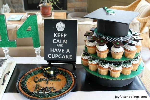 Instead of a sheet cake, make a cardboard cupcake stand and fill it with goodies.   31 Grad Party Ideas You'll Want To Steal Immediately
