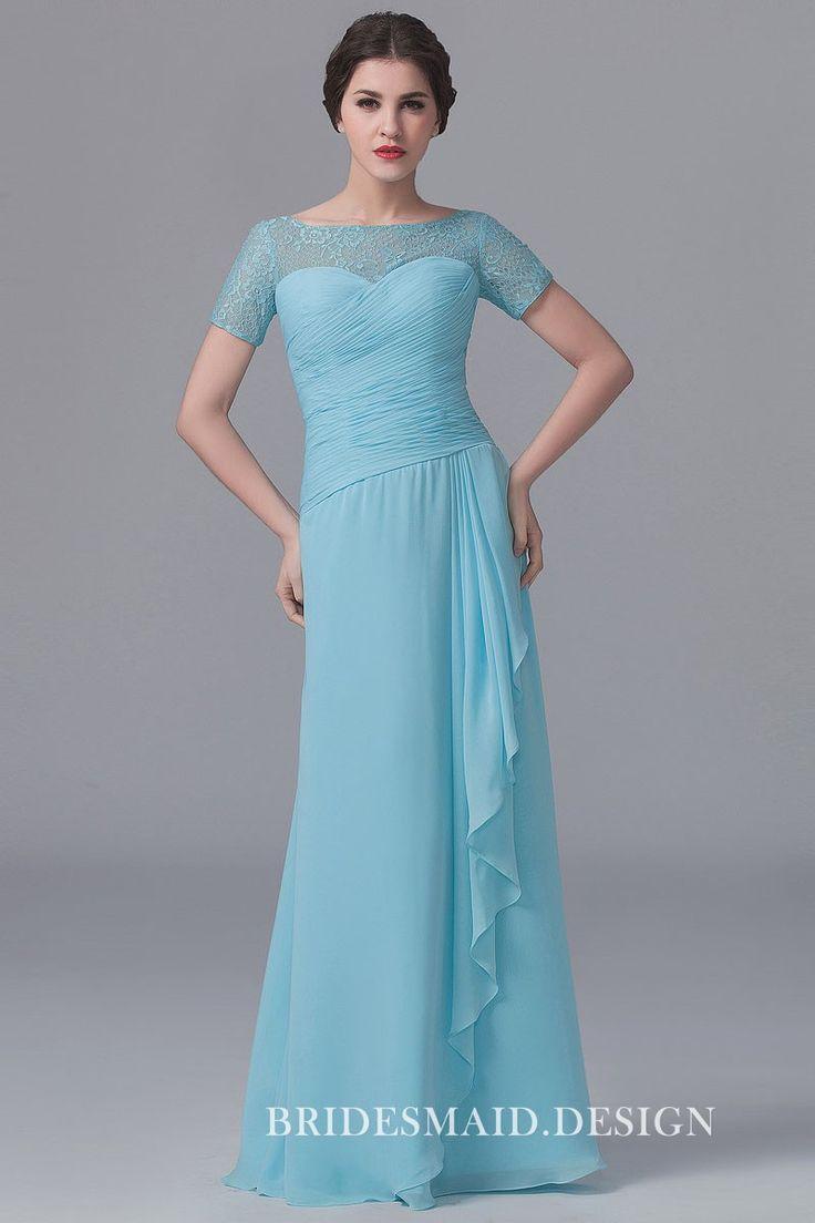 Illusion Bateau Neck Short Sleeve Pleated Light Blue Chiffon Long Bridesmaid Dress