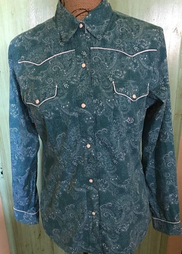 Roper Women's Shirt Western Snaps Teal Floral Pattern Sz M  | eBay