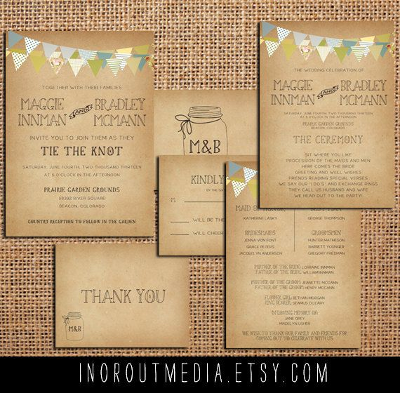 Country Wedding Invitation Suite  Vintage Antique by inoroutmedia, $55.00
