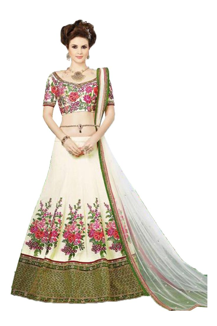 FourCorners2013 Indian Women Designer Party Wear white Lehenga CholiK-4053-34733. Lehenga Details:- Color : whiteFabric : silk, Work : embroidery. Dupatta Details:- Color : white, Fabric : chiffon. Choli Details:- Color : white, Fabric : net. Fastest Selling Ethinic Dress in India. Comes with matching unstitched Salwar Kameez or Blouse or Choli. All products will be semi-stitched or unstitched, which can be customized from size 36 to 42. Stitching service is not available. In s, buyers…