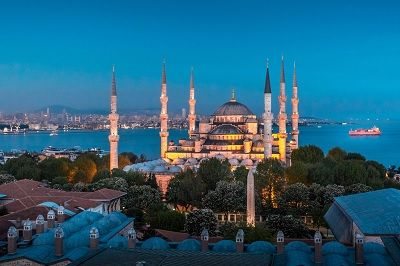 The Sultan Ahmed Mosque in Istanbul.  It has five main domes, six minarets, and eight secondary domes!