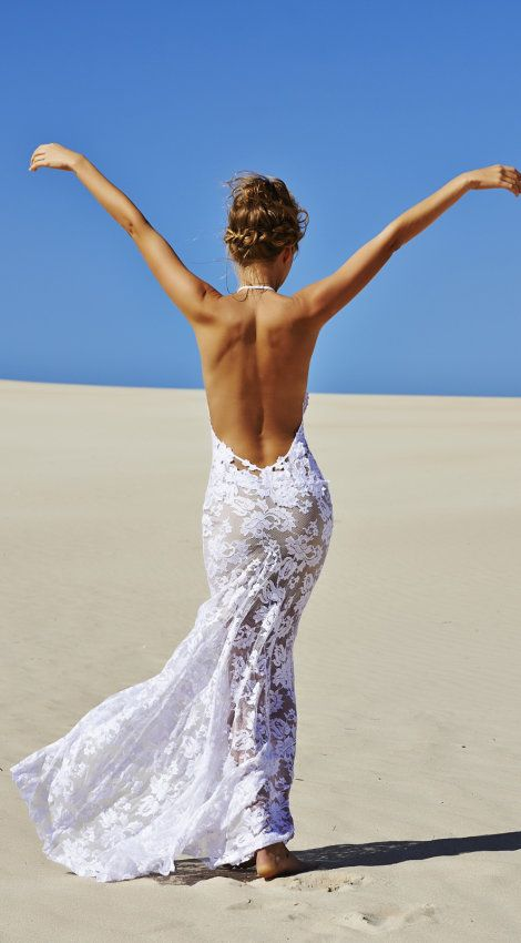Beautiful dreamy, lacy, flowing wedding dress